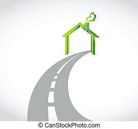 casa, concetto, disegno, strada, illustrazione