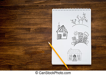 casa, concetto, disegno, tuo