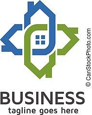 casa, conectado, logotipo