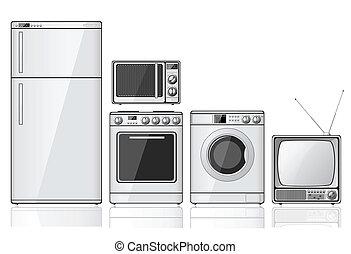 casa, conjunto, aparatos