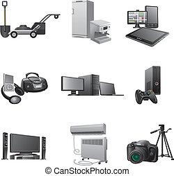casa, conjunto, aparatos, icono