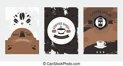 casa, conjunto de café, jarra, mejor, tienda, vector, venda...