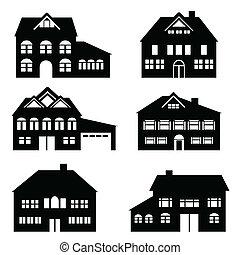 casa, conjunto, icono