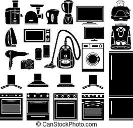 casa, conjunto, negro, aparatos, iconos