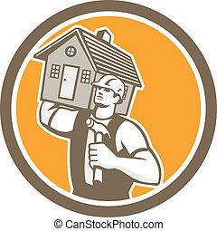 casa, constructor, carpintero, proceso de llevar, retro, martillo