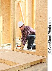 casa, construtor, construir