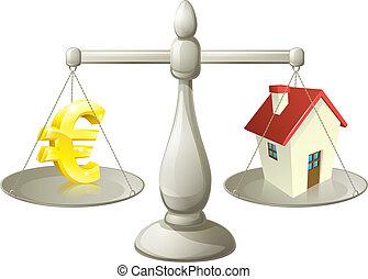 Casa equilibrio euro casa blu carattere simbolo for Aprire piani casa concetto