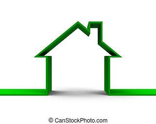casa, contorno, concetto