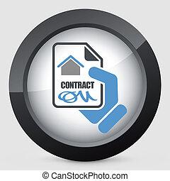 casa, contrato, ícone
