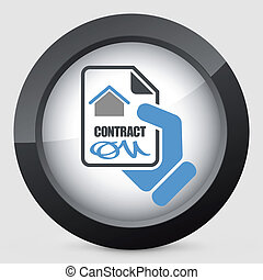 casa, contrato, icono