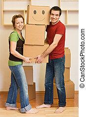 casa, coppia, felice, spostamento, nuovo