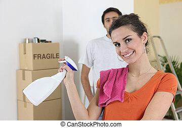 casa, coppia, pulizia