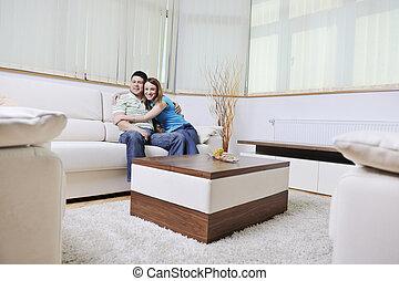 casa, coppia, rilassante