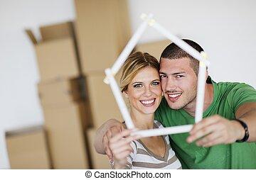casa, coppia, spostamento, giovane, nuovo