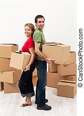 casa, coppia, spostamento, nuovo
