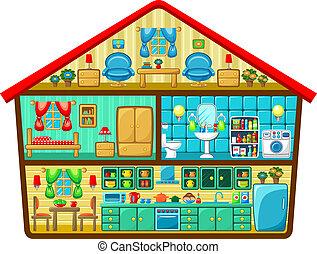 casa, corte, caricatura