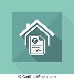 casa, costo, -, dollaro, icona