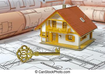 casa, costruzione, con, piano