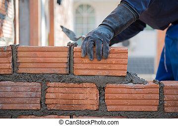 casa, costruzione, muratura, wal, lavoratore