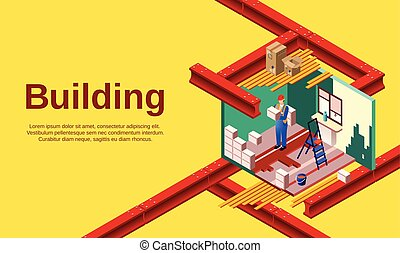 casa, costruzione, vettore, illustrazione, sezione trasversale