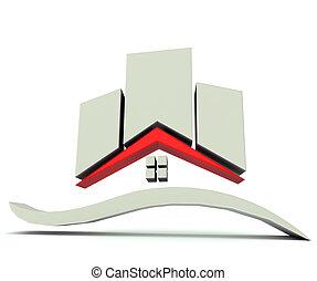 casa, costruzioni, grafico, logotipo