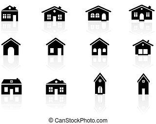 casa, costruzioni, icone