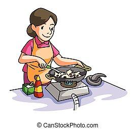 casa, cottura, moglie