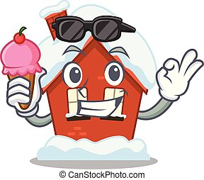casa, crema, forma, hielo, caricatura, invierno