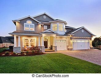casa, crepuscolo, esterno