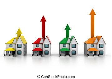 casa, crescente, vendita