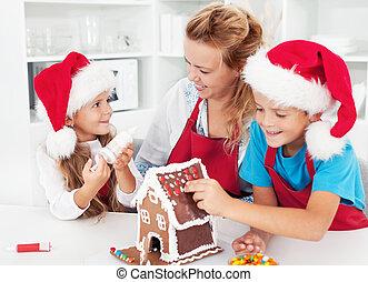 casa, crianças, biscoito, fazer, gingerbread