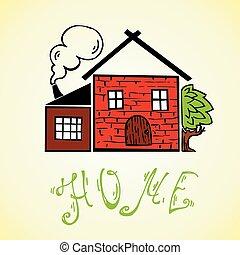 casa, crianças, vetorial, fumaça, doodle, desenho, chaminé