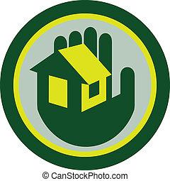 casa,  cricle,  retro, segurando, mão