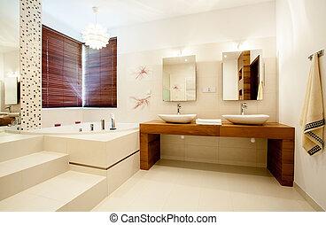 casa, cuarto de baño, moderno, espacioso