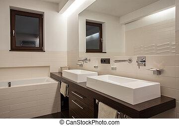 casa, cuarto de baño, -, travertine, elegante
