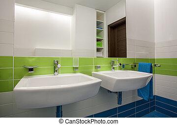 casa, cuarto de baño, -, travertine