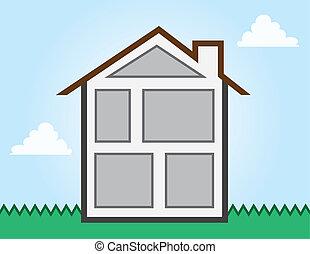 casa, cuartos, contorno