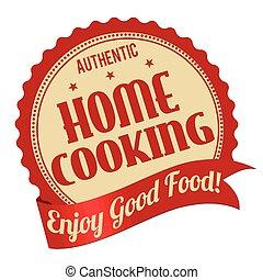 casa cucinando, etichetta, o, francobollo