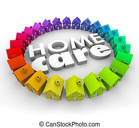 casa cuidado, palabras, 3d, cartas, salud, terapia, hospicio, servicio
