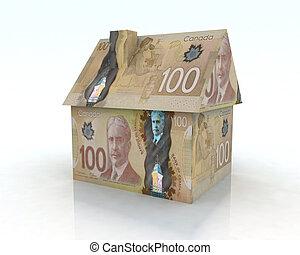 casa, dólar, canadiense