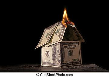 casa, dólares, abrasador