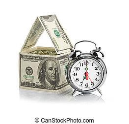 casa, dólares, hecho, alarma, clock.