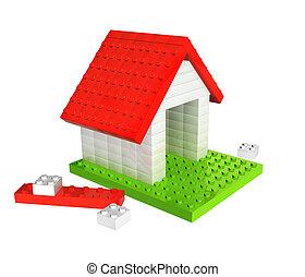 casa, da, giocattolo plastica, blocchi