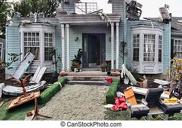 casa, danneggiato, disastro