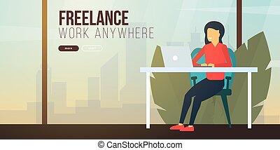 casa, day., ufficio., laptop, tavola, windows, indipendente, panoramico, ragazza, concept., sedere, fronte