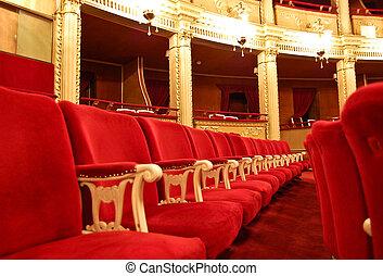 casa de ópera, asientos, interior, -