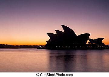 casa de ópera de sydney, en, salida del sol
