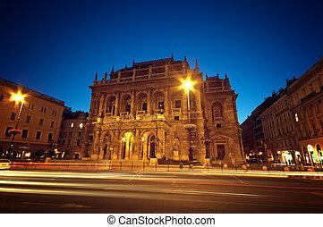 casa de ópera, húngaro, noche