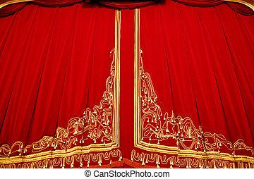 casa de ópera, -, interior, cortina, etapa