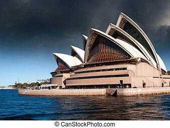 casa de ópera, mal tiempo, sydney